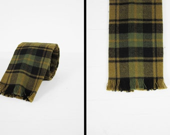 Vintage Green Tartan Square Tie Cotton Fringe Plaid Necktie