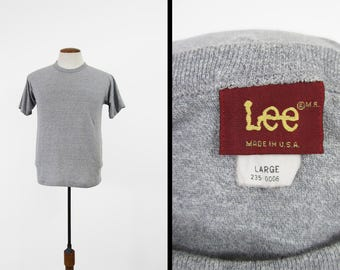 Vintage 80s Lee T-shirt Heather Grey Soft and Thin 5050 Made in USA - Medium