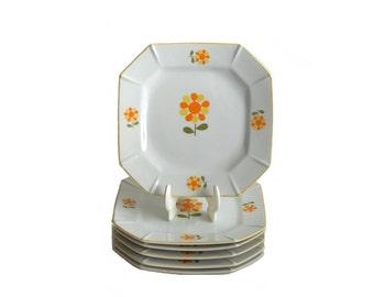 Vintage Flower Power Retro Floral Porcelain Plates Set of 6 Octogon Retro Mod