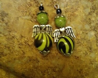Green Angel charms -set of -2