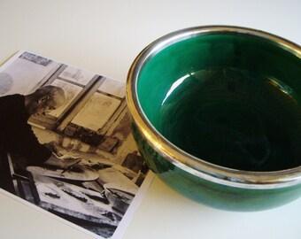 Vintage Ceramic Bowl, Silver Rim, Mid Century, Collectible Pottery, Placide Saltalamacchia, Wiskemann, Vallauris, Aegitna, France, c1960
