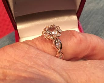 14k Rose Gold Sapphire and Diamonds Engagement Ring