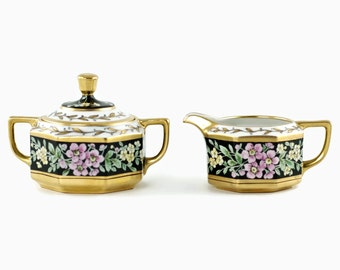 Antique W A Pickard Hand Painted Gilded Cream and Sugar Set