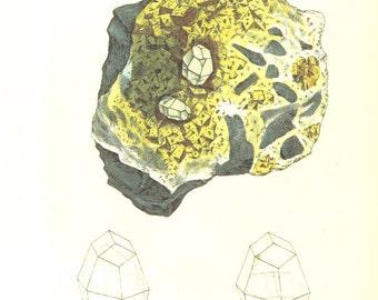 Vintage Mineralogy Illustration Digital Paper: CALX carbonata