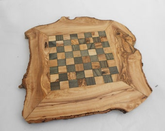 Natural Edges Rustic Olive Wood Chess Set, Grand Dad gift