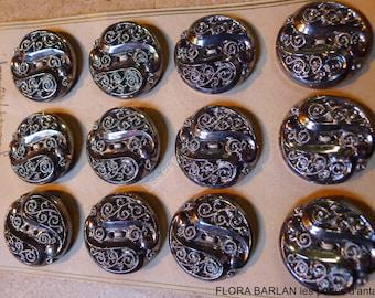antiques buttons vintage /1940/glass/ original CARD/12bts