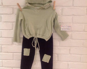 2piece Toddler Sweater set, Hoody sweater with leggings, Unisex toddler set pale green hoody, brown wool leggings, toddler clothing
