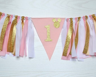 Minnie Mouse Birthday Banner - 1st birthday banner - Fancy minnie mouse 1st birthday banner - gold Minnie Mouse Banner - girl 1st