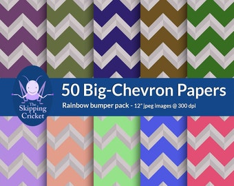 50 rainbow large chevron scrapbooking papers, chevron digital papers, rainbow chevron paper,  zigzag scrapbook paper - INSTANT DOWNLOAD