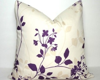 Purple Taupe Ivory Vine Leaf Pillow Cover Decorative Leaf Throw Pillow Cover 16x16 18x18