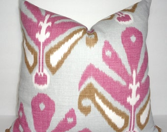 Pink Grey Brown Beige Ikat Pillow Cover Living Room Decor Decorate with Pillows Size 18x18