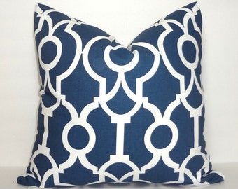 Navy Backdrop Blue and White Lyon Geometric Print Pillow Covers Decorative Throw Pillow Covers Navy Blue All Sizes