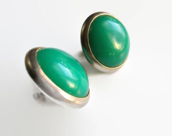 Vintage Button Earrings Large Kelly Green Lucite 1950s