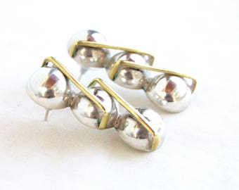 Modern Mexican Earrings Sterling Silver and Brass Vintage Mixed Metal Orb Ball Drops Taxco Mexico