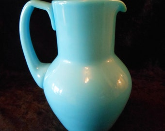 Antique Opaline Blue Milk Glass Portieux Vallerysthal Pitcher HTF