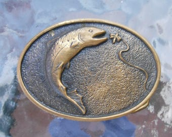 Vintage Brass Trout Fly Fishing Belt Buckle