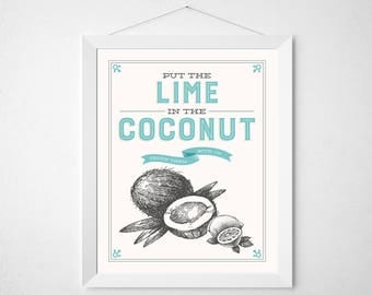 Lime Coconut Print - Drink them both up - Retro aqua tropical vintage inspired typography kitchen cocktail bar poster wall art decor 8x10