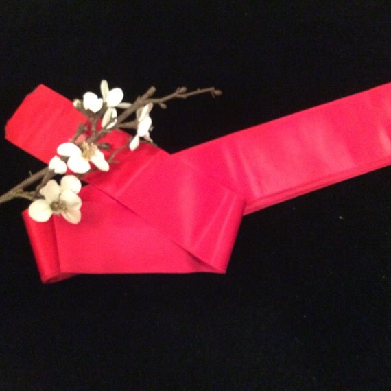 Vintage wide heavy red cotton sateen ribbon vintage for Vintage christmas craft supplies