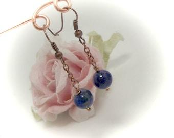 Lapis Lazuli Earrings Gemstone Jewelry Gemstone Earrings - Stone of Royalty Copper Earrings