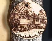 Custom Home and Address Christmas Ornament, Rustic Wooden Holiday Ornament, Gifts unde 20, Gifts for Her Mom Dad Grandparent, Nostalgic Gift