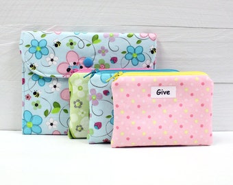 Kids Cash Envelope System - Give Save Spend - Cash Budget System - 3 Zippered Cash Budget Envelopes and Case - READY TO SHIP