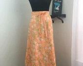 1970s Lilly Pulitzer Liza Pink Orange Wrap Skirt with Pockets