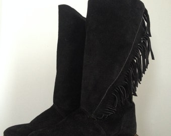 PRICE CUT! Black Suede Leather  Fringe Mid Calf Boots 7B   Boho