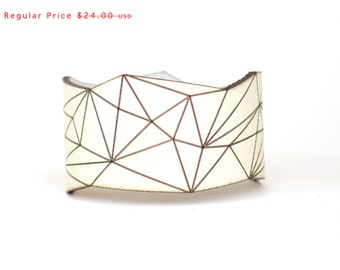 leather cuff bracelet - Slim Geometric Triangle Cuff in Cream Leather with Snaps - modern design, laser cut SALE