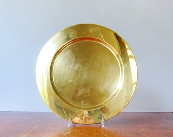 Four (4) Mid Century Lars Knudsen Danish Brass Charger / Plates