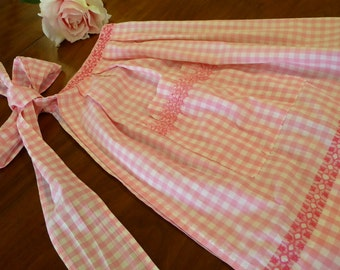 Vintage Pink White Gingham Half Apron Hand Sewn Home Made