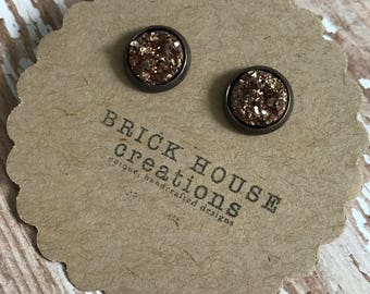 Rose Gold Druzy earrings, copper setting