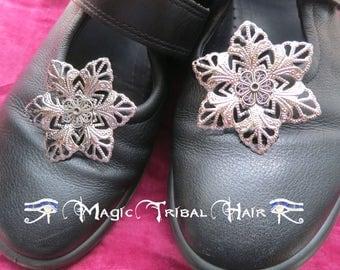 Hair Flowers 2x silver flower hair clip Gothic Lolita shoe clips Tribal Fusion belly dance hair jewelry Fantasy Wedding Bride hair accessory