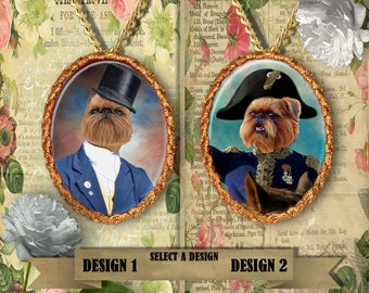 Brussels Griffon  Jewelry. Brussels Griffon Pendant or Brooch. Brussels Griffon Necklace. Custom Dog Jewelry by Nobility Dogs.