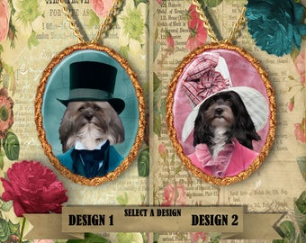 Havanese Jewelry. Havanese Pendant or Brooch. Havanese Necklace. Havanese Portrait. Custom Dog Jewelry by Nobility Dogs.Dog Handmade Jewelry
