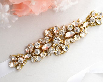 Gold Bridal Crystal, Pearl sash. Rhinestone Applique Wedding Belt. Party Sash,vintage sash belt
