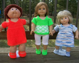 99) Knit Off the Shoulder/Cold Shoulder Dress or Top 15 Inch and 18 Inch Dolls American Girl Bitty Baby Cabbage Patch Dolls Dress Shoes Knit