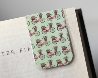 Bike Bookmark, Bicycle Bookmark, Magnetic Bookmark, Laminated Bookmark, Green Red Bookmark, Student College Unique Gift
