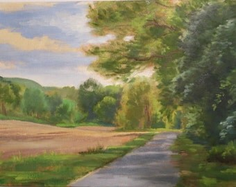 Landscape with Country Road, Spring Landscape with Road, Plein Air View of Country Road, Location Painting, Cornfield View Painting,