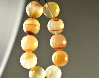Luscious Translucent Natural Carnelian Round Bead - 12mm - 10 beads - B6450