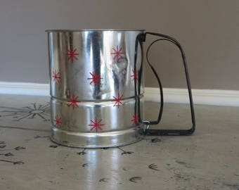 Androck Flour Sifter Metal Flour Sifter Vintage Kitchen Made in U.S.A. Red and Silver