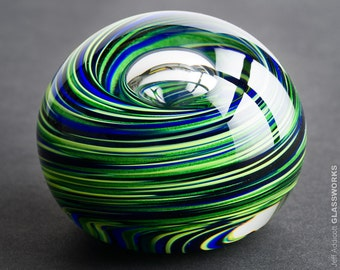 Hand Blown Glass Paperweight - Blue and Sparkly Green Swirls with Bubble - Medium Size
