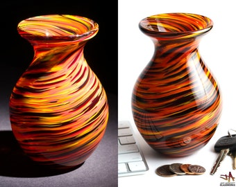 Hand Blown Glass Vase - Bulbous Shape with Dark Hot Color Swirls