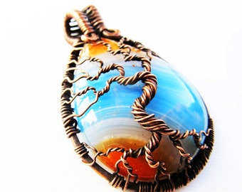 "Tree of Life Pendant - Beautiful Amber and Blue Onyx Agate Cabochon and Oxidized Copper Wire - 1.5"" x 2.25"" (40mm x 60mm) - Chain Included"
