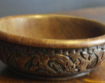 antique hand carved wood africn bowl elephant rhino geraff