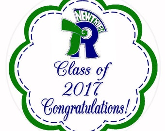 Graduation Stickers, School Logo, Class of 2017, School Colors, Graduation Cap,Party Favor Labels, Graduation Party Favor, 24 STICKERS (485)