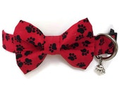 Max's Paws Red and Black Bow Tie Dog Collar All Sizes