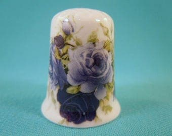 Thimble Bone China with Blue Roses