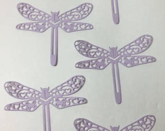 """Set of 6 Cardstock Purple Dragonflies Dragonfly Card Stock Approximately 2.5""""x2.75"""""""