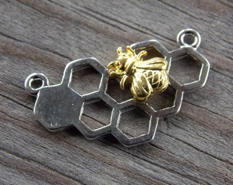 8 Silver Honeycomb Connectors with Gold Bee 25mm