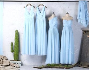 Mix Match Light Blue Chiffon Bridesmaid Dress,Long V Neck Wedding Dress,Mismatch Maxi Dress,Evening Gown Floor Length(T157/J025/J083/LS143)